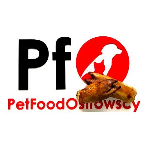 Logo Pet Food Ostrowscy oraz nóżki wieprzowe
